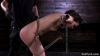In upside down hogtie babe swung