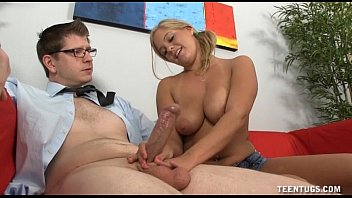 Naughty Teen Jerks Off A Guy On The Couch