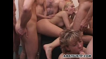 Amateur girlfriend gangbang with huge cum loads