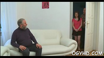 Gorgeous young gal fucked by old guy