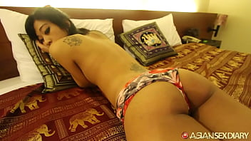 Shy small ass Asian explored and unleashes horniness on hard white cock