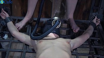 One perverted couple t. restrained bitch in gas muzzle Elise Graves hard - Mobile Sex