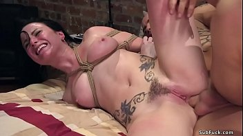 Tied busty brunette rough anal fucked