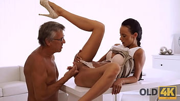 OLD4K. Tanned secretary and experienced boss instead of work have sex
