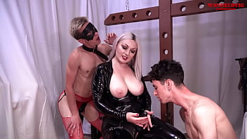 Busty Blonde Goddess Ball Busting, Facefucks, Spanks and Domination Male Slaves