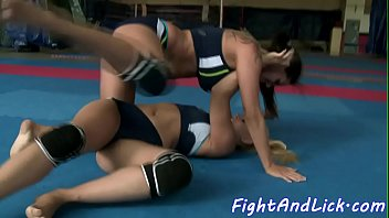 Bigtitted lesbian wrestling and sixtynining