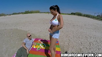 Sexy euro babe with huge tits gets naked at the beach - porn