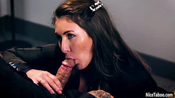 Wet secretary Paige Owens sucking bosses big dick while he talking with wife