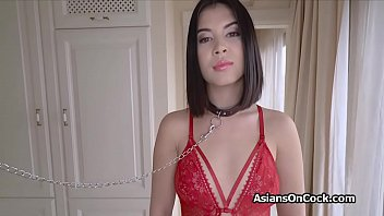 Asian sex slave in chains fucked hard