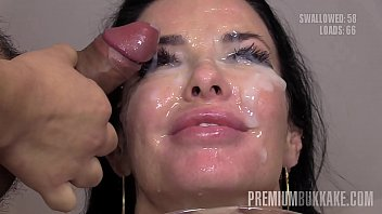 Premium Bukkake - Veronica Avluv swallows 66 huge mouthful cum loads