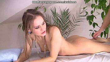 Oiled chick Sabrina giving porn massage to hard cock
