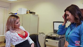 GIRLS GONE WILD - Teen Lesbians Helena Price and Alana Luv Scissoring In Law Office