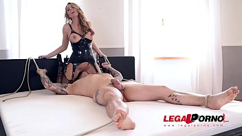 Submissive guy spanked and fucked by British latex dominatrix Stacey Saran GP636