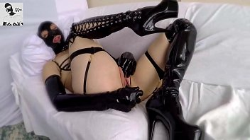 Hot Girl in Latex Hood and Thigh High Boots Plays With Her Huge Pussy Lips and Ass With Toys and Makes Herself Cum Hard