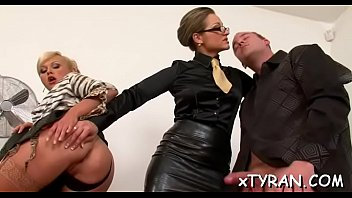 Tied up whore gets snatch licked