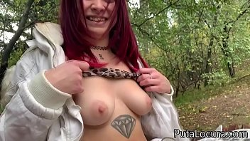 The power of money, the young redhead agrees to fuck with me right there, in the park where I met her