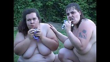 Large white ladies Baby Bear and Tiger finger each other's pussies