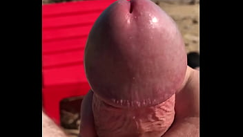 Stroking Cock on Beach