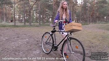 Naked teens bicycle Areana fox back riding her bike nude masturbating in the forest