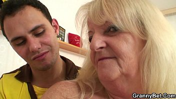 He brings blond grandma home for hard fuck
