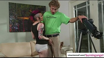 Tattooed emo slut Rizzo Ford curios of ASStronomy and gets fucked and facial