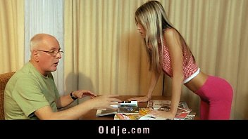 Indian man licking young blonde pussy - Materialist young blonde fucks grandpa for money