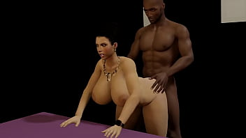 Big titty brunette is bent over and fucked doggy style