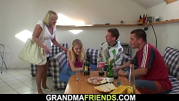 Very old hairy  blonde granny threesome hreesome
