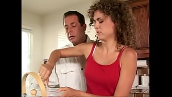 Young butter-fingers Eva Moore draggled the trousers of her teacher in the culinary art and has got just deserts in the form of anal pounding