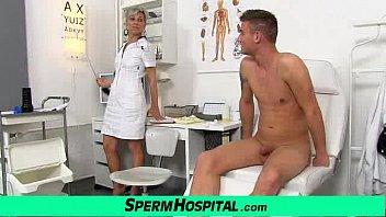 Sexy uniform milf Beate milking young male patient thumbnail