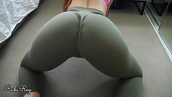 Cum in my step sister's Yoga pants and she pulls them back up before gym