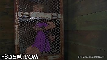 Shackled up cuties get their pussy drilled by torturer