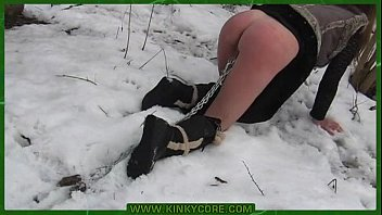 Outdoor bdsm in the snow