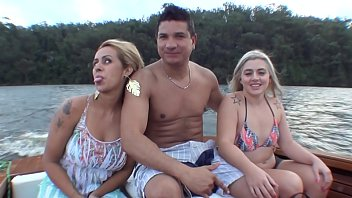 The Brazilian pornstar Monica Lima, Ed Junior and Nicole Bittencourt on a boat trip on the Guarapiranga Dam