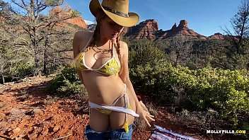 Cowgirl rides Big Cock in the Mountains - Molly Pills - Adventure Porn POV