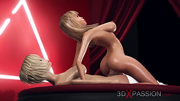 3d dickgirl plays with a hot horny blonde on the fashion nude model podium