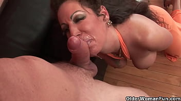 Busty milf gets a creampie and a facial
