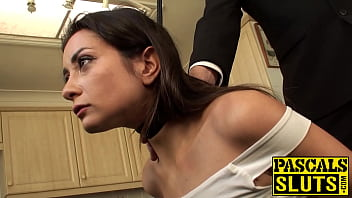 Pretty slut assfucked while restrained