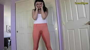 desperate to pee pissing her tight jeans 2020