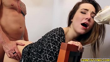 Dad fucks Bambi Brooks wide spread pussy in the office