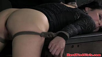 Beautiful bottom bondage babe ballgagged