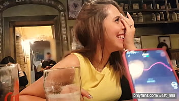 Public orgasm in a pub with the lovense lush | Western guy & Mia Natalia Video  - 69VClub.Com