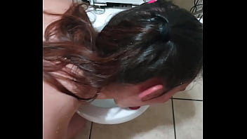 Toilet licking slut takes piss in the face and sucks cock   face slapping  and spitting