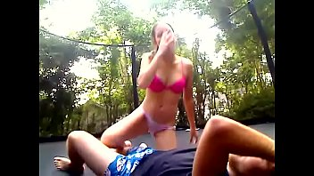 Trampoline group sex - Fucking her on a trampoline and i cum inside her