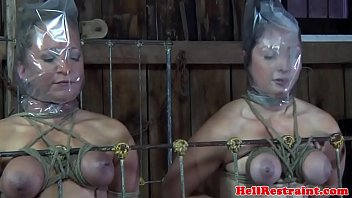 Bondage gag sex breath control Bdsm slave duo punished in maledoms dungeon