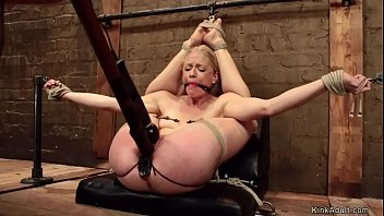 Blonde lesbian anal toyed on hogtie