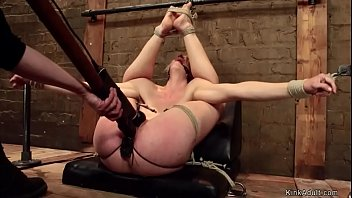 Tied blonde slave Serene Siren gets pussy whipped and vibrated then lezdom Claire Adams toys her pussy and ass with dildo on a stick on hogtie