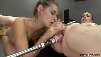 Gym lesbians fucking double ended dildo