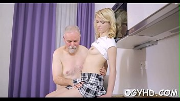 Lustful old dude teases juvenile babe