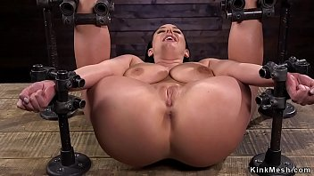 Nude flogging Strapped big tits babe in device bondage